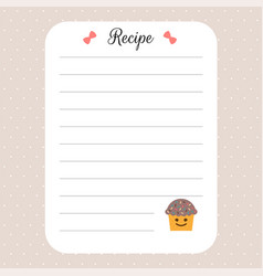 recipe card template cookbook template page for vector image