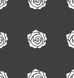 Rose icon sign seamless pattern on a gray vector