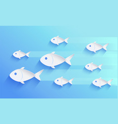 school of fish silhouette isolated on blue vector image