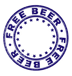 Scratched textured free beer round stamp seal vector
