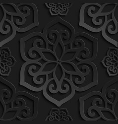 seamless pattern black 3d paper mandala vector image