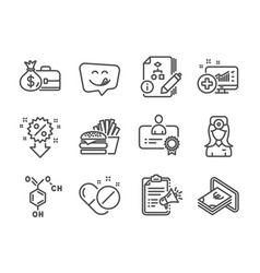 Set business icons such as medical pills vector
