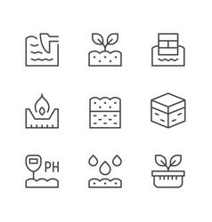 set line icons soil vector image