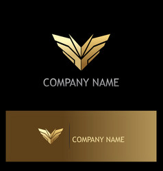 Sharp gold wing emblem logo vector