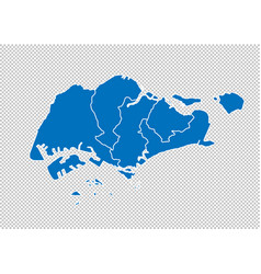 singapore map - high detailed blue map with vector image