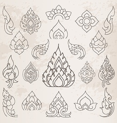 Sketch Thai arts pattern and design elements vector image