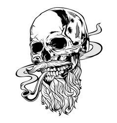 skull pipe old man vector image