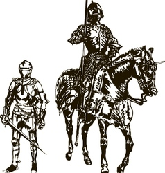 Soldier and Knight on a Horse vector