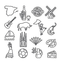 Spain line icons set spanish traditional symbols vector