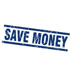 Square grunge blue save money stamp vector