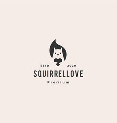 squirrel love logo icon hipster vintage retro vector image