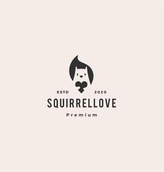 squirrel love logo icon hipster vintage retro vector image