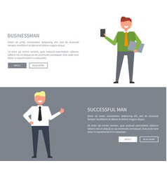 successful businessman set of icons for web page vector image