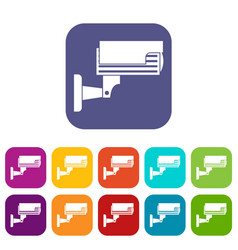Surveillance camera icons set vector