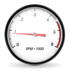 Tachometer white car gauge vector