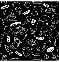 Tea party kitchen tools seamless pattern vector