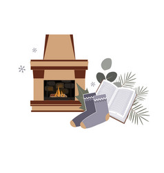 time to hygge minimailstic composition vector image