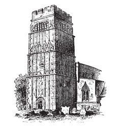 tower of barton church in the northhamptonshire vector image