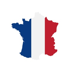 tricolor flag france on map vector image