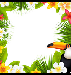 tropical frame with frangipani vector image