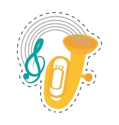 Tuba wind brass music instrument dotted line vector