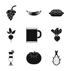 Vegan tavern icons set simple style vector