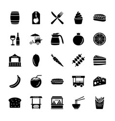 Vendor or seller solid icons set vector
