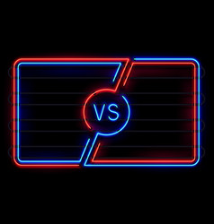 Versus neon frame sport battle glowing lines vector