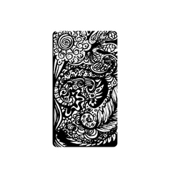 Vertical template for phone cover with doodle vector