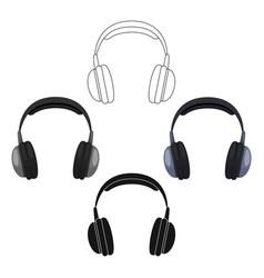 vintage headphones icon in cartoonblack style vector image