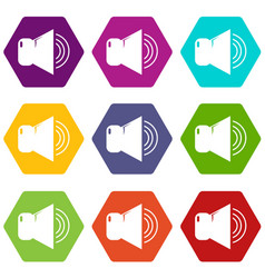 volume up icons set 9 vector image