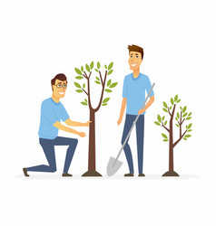 Volunteers plant trees - cartoon people characters vector