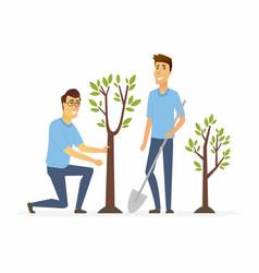volunteers plant trees - cartoon people characters vector image