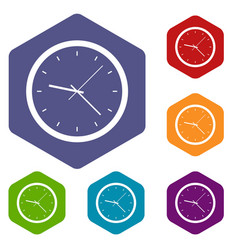 Wall clock icons set hexagon vector