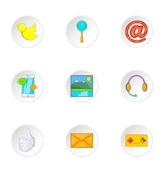 Web communication icons set cartoon style vector