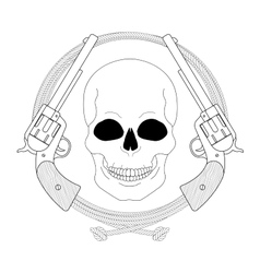 Wild west emblem Skull and pistols in lasso frame vector image