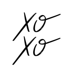 xoxo hand drawn lettering isolated handwritten vector image