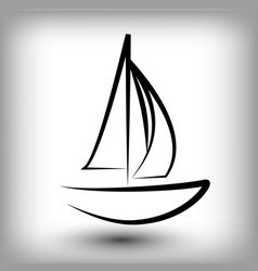 Yacht logo templates sail boat silhouettes vector