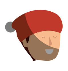 Young man with christmas hat avatar character vector
