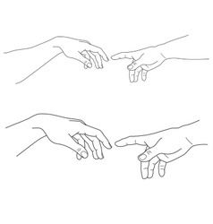 Adam and God hands touch hope help vector image