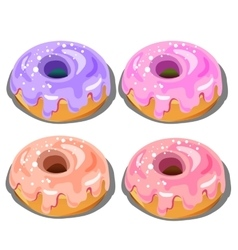 Four delicious donuts with different fillings vector image vector image