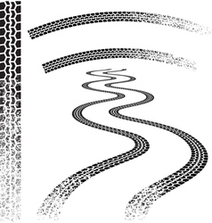 set of high quality grunged tire tracks vector image vector image