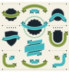 Set of retro badges labels ribbons and design vector image vector image