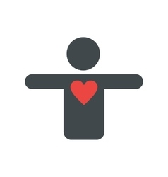 Silhouette of a man with a heart flat icon vector image vector image