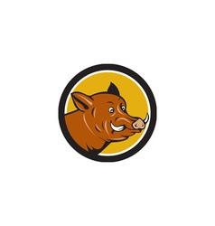 Wild Boar Razorback Head Startled Circle Cartoon vector image