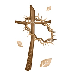 A Wooden Cross and A Crown of Thorns vector image vector image