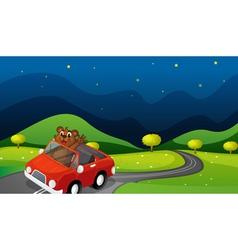 bear and car vector image vector image