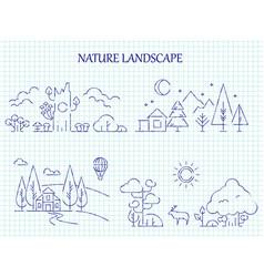 hand drawn nature landscape line set vector image vector image