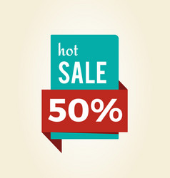 hot sale -50 off promo label informing of discount vector image