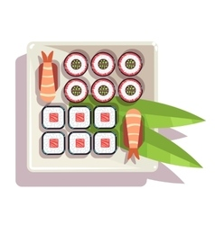 Japanese sushi over a plate vector image